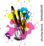 brushes  pens  pencils  ruler...   Shutterstock . vector #564668449