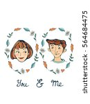 you and me romantic set with... | Shutterstock .eps vector #564684475