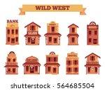 wild west building set for game ...   Shutterstock .eps vector #564685504