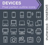 set of thin line devices icons... | Shutterstock .eps vector #564685645