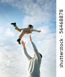 happy father and son playing on ... | Shutterstock . vector #56468878