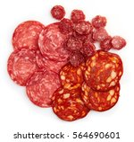 slices of chorizo sausage and... | Shutterstock . vector #564690601