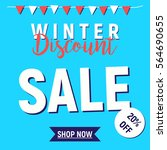 winter sale shop now button ... | Shutterstock .eps vector #564690655