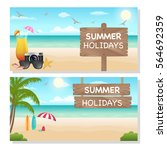 summer vacation banners. vector ... | Shutterstock .eps vector #564692359