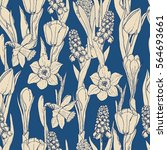 seamless pattern with spring... | Shutterstock .eps vector #564693661