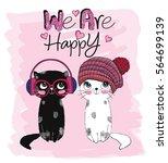 Stock vector cute cats 564699139