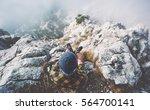 traveler man relaxing alone on... | Shutterstock . vector #564700141