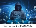 hooded hacker with mask typing... | Shutterstock . vector #564700384