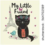 cute cat vector graphic for t...   Shutterstock .eps vector #564702589