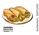 many delicious shawarma. hot... | Shutterstock .eps vector #564711691