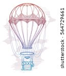 hand drawn colorful hot air... | Shutterstock .eps vector #564729661