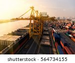 container container ship in... | Shutterstock . vector #564734155