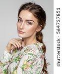 beauty portrait of female face... | Shutterstock . vector #564737851