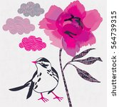 cute bird and peony flower.... | Shutterstock .eps vector #564739315