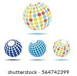 muti colored globes icons  ... | Shutterstock . vector #564742399