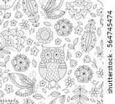 Floral Owl Vector Seamless...