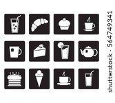 vector set food icon in black... | Shutterstock .eps vector #564749341