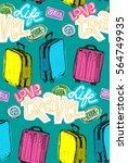 hand drawn travel pattern.... | Shutterstock .eps vector #564749935