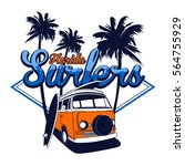 florida surfers vector t shirt... | Shutterstock .eps vector #564755929
