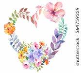 watercolor beautiful flowers... | Shutterstock . vector #564759229