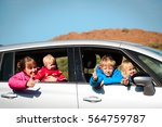 happy mother with tree kids... | Shutterstock . vector #564759787