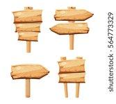 old wooden blank cartoon sign... | Shutterstock .eps vector #564773329