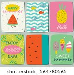 vector cards with cute summer... | Shutterstock .eps vector #564780565