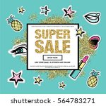 super sale web banner with... | Shutterstock .eps vector #564783271