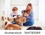 happy family playing with cute... | Shutterstock . vector #564785089