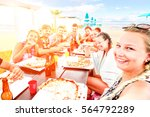 big group of friends pizza... | Shutterstock . vector #564792289