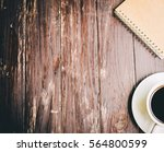 black coffee and paper book on... | Shutterstock . vector #564800599