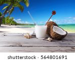 coconut drink on the beach | Shutterstock . vector #564801691