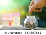 savings money coins for house... | Shutterstock . vector #564807661