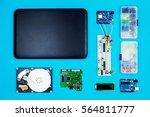 top view of desktop of ...   Shutterstock . vector #564811777