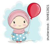 a cute muslim girl cartoon with ... | Shutterstock .eps vector #564812821