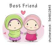 best friend of two cute muslim... | Shutterstock .eps vector #564812845
