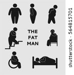 fat man  stick figure set ... | Shutterstock .eps vector #564815701
