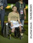 Small photo of Rio, Brazil - january 25, 2017: Jackson Follmann honored the survivors with the Chapecoense airplane during Game of Friendship, Brazil (BRA) X Colombia (COL) held in Engenhao to help the Chapecoense