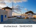 windmill in chora of ios island ... | Shutterstock . vector #564834505