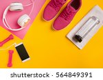 fitness accessories on a yellow ... | Shutterstock . vector #564849391