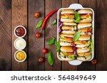 mini hamburgers with chicken... | Shutterstock . vector #564849649