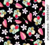 bright hawaiian seamless... | Shutterstock .eps vector #564854347