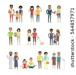 smiling people characters set.... | Shutterstock . vector #564857971