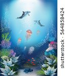 underwater world with dolphins... | Shutterstock .eps vector #564858424