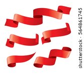 set of red vector ribbons | Shutterstock .eps vector #564861745