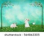festive greeting card  easter... | Shutterstock . vector #564863305