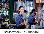 girl barista bartender waiter... | Shutterstock . vector #564867361