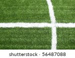 lines on soccer field green grass - stock photo