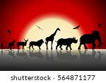 Silhouettes Of Wild Animals On...
