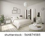 white bedroom minimal style... | Shutterstock . vector #564874585